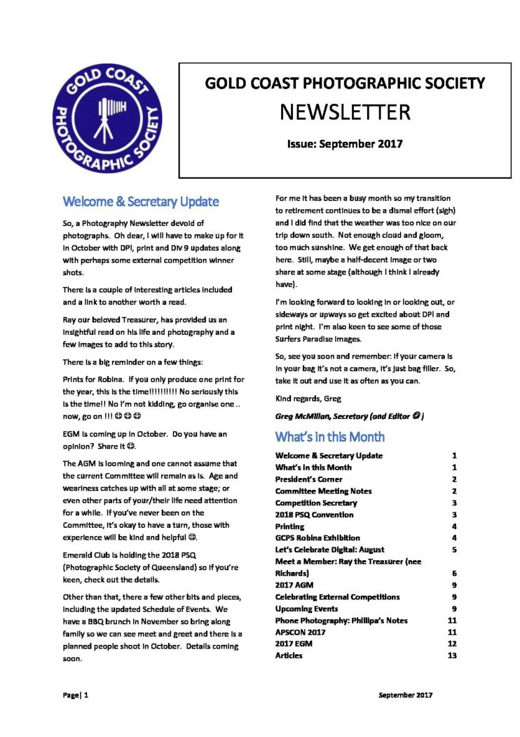 September 2017 Newsletter