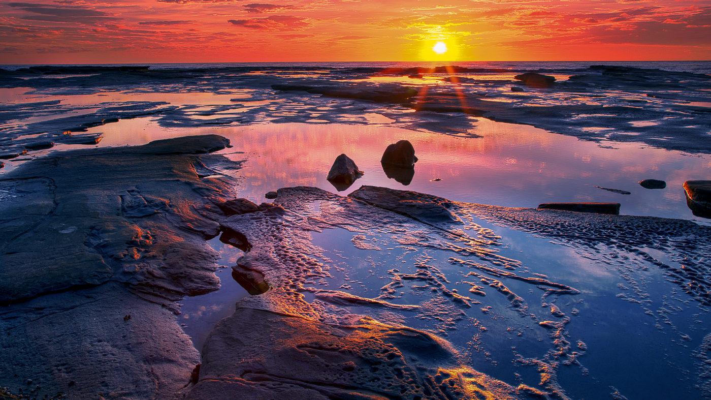 First Light Caloundra Rocks </br>by Kathlyn Tedder </br>(AB Grade) HONOUR